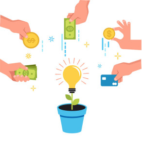 97432295 - crowdfunding money concept banner design with money and idea in pot